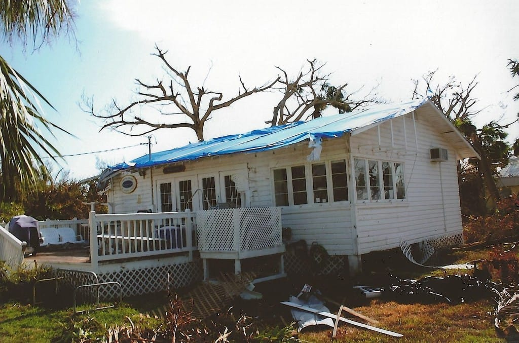 Hurricane Charley 10 Year Anniversary, Blue Tarps On Roofs, 8-13-04.