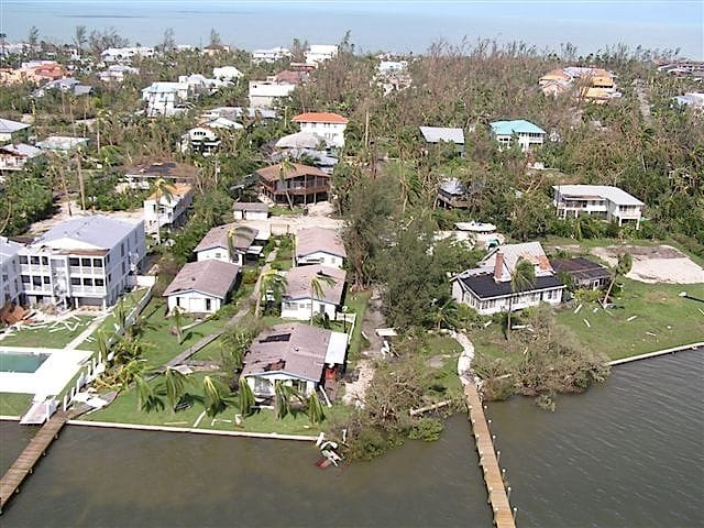 Hurricane Charley 10 Year Anniversary, Aerial Photo, Captiva Island, 8-13-04, Courtesy Of LCEC.