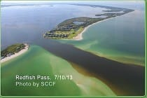 Sanibel Water Quality: Lake Okeechobee Water Release Impact, Redfish Pass, 7:10:13, Photo By SCCF.
