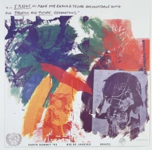 Robert Rauschenberg, Offset lithograph  25 x 26 inches (63.5 x 66 cm)  From an edition of 200, published by the Robert Rauschenberg Foundation, produced by Ivy Hill through the auspices of Universal Limited Art Editions, West Islip, New York.