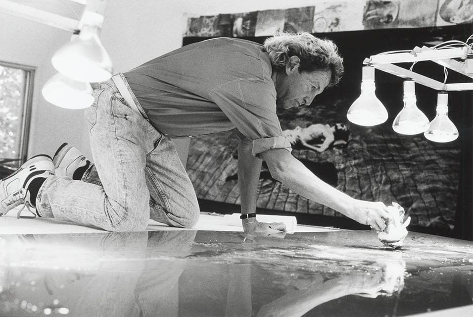 Rauschenberg working on a metal painting in his Laika Lane studio, Captiva, Florida, 1989. Photo- © Gianfranco Gorgoni.