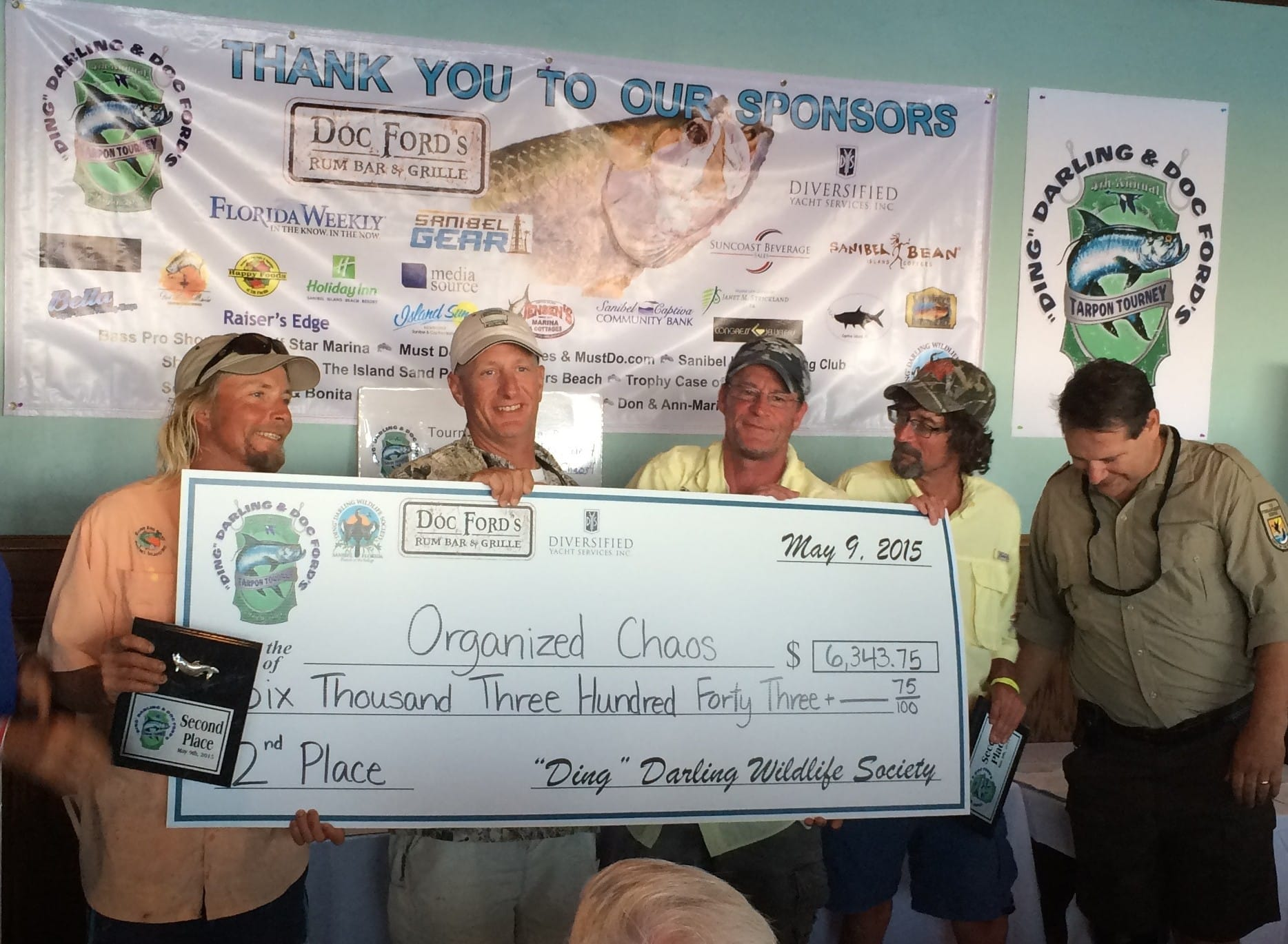 "Team Organized Chaos, 2nd Place, 2015 ""Ding Darling"" & Doc Ford's Tarpon Tournament, 5-9-15,."