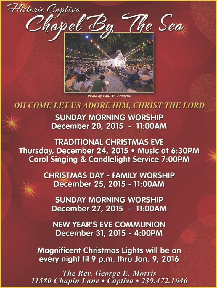 Captiva Island Chapel By The Sea Christmas Week Schedule 2015.