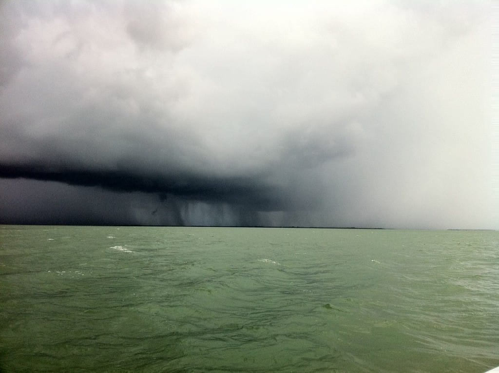Storm rolling in across the bay toward Captiva Island, Charlie Landon, June 28, 2011.