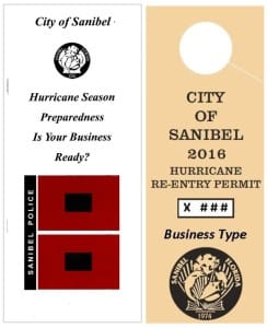 City Of Sanibel Hurricane 2016 Re-entry Pass, Commercial. Courtesy Of City Of Sanibel.