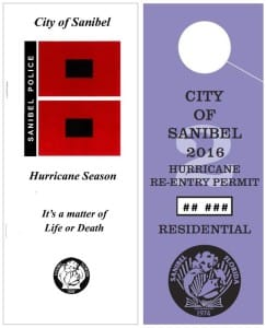 City Of Sanibel Hurricane 2016 Re-entry Pass, Residential. Courtesy Of City Of Sanibel.