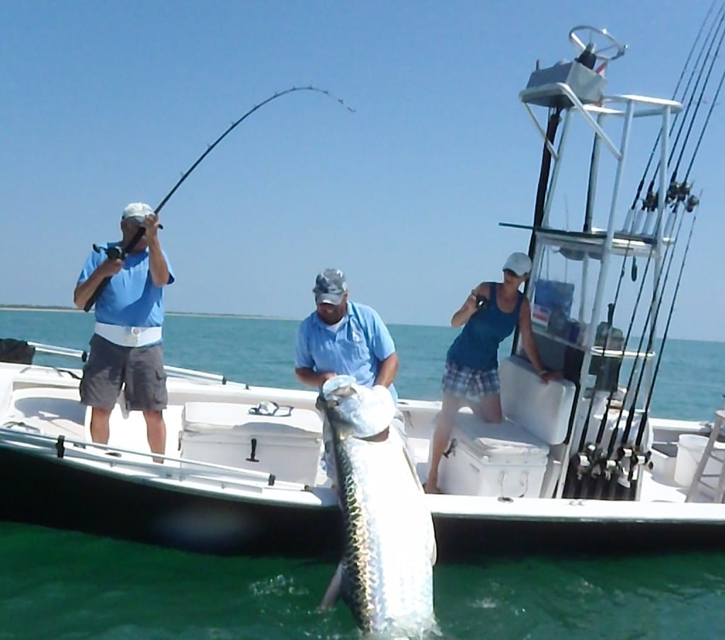 Captain Jimmy Burnsed, Huge Tarpon, Boca Grande Pass, 2011, Catch & Release.