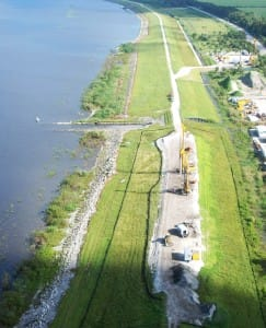 U.S. Representative Curt Clawson Proposes $800 million To Expedite Repairs To Hoover Dike.  Aerial view of a portion of Herbert Hoover Dike, Via Creative Commons, JaxStrong.