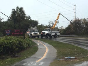 Due to the current storm passing over Sanibel Island a sagging power-line over San-Cap Road near Blind Pass has TEMPORILY closed SAN-Cap Road to all traffic. March 29, 2016. Photo Credit: Charlie Landon