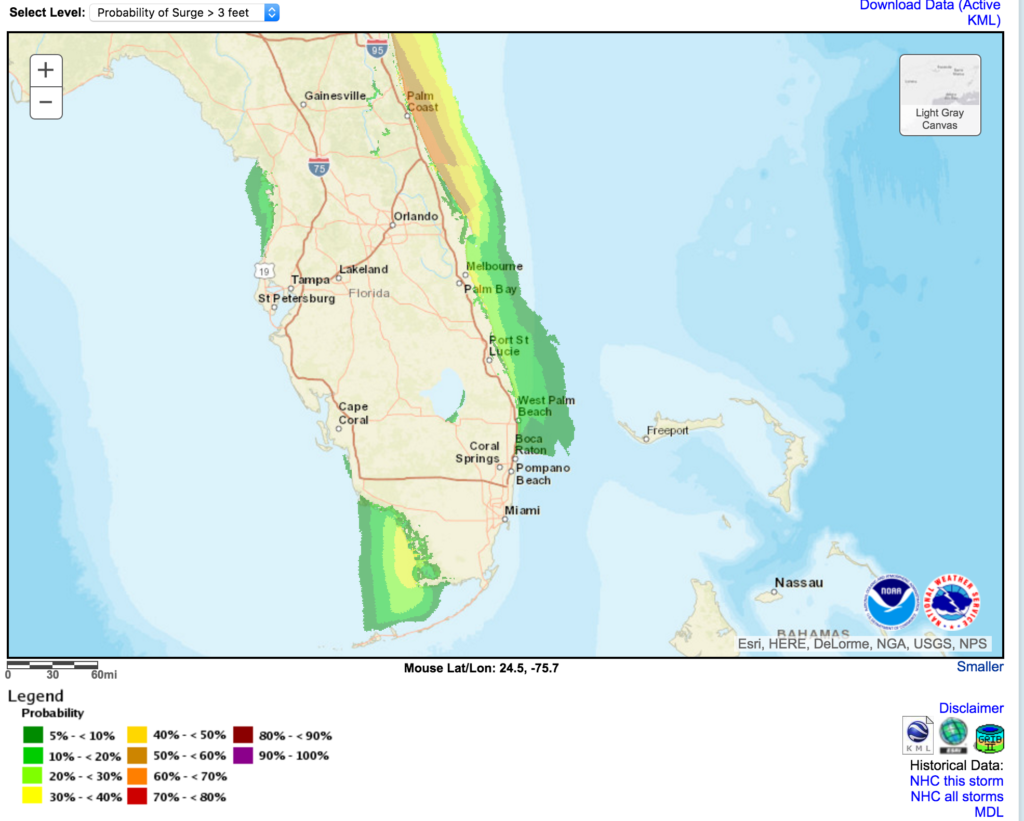 Hurricane Matthew, Surge Probabilities. Chance of Storm Surge >= 3 feet Hurricane Matthew (2016) For the 77 hours from 11 AM EDT Tue Oct 04 to 04 PM EDT Fri Oct 07.