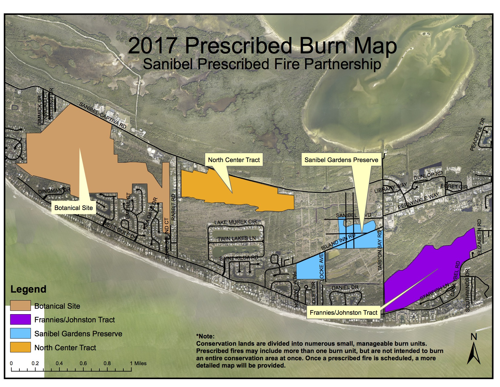2017 Sanibel Prescribed Burn Map: Conservation lands are divided into numerous small, manageable burn units. Prescribed fires may include more than one burn unit, but are not intended to burn an entire conservation area at once. Once a prescribed fire is scheduled, a more detailed map will be provided. Courtesy Of City Of Sanibel.