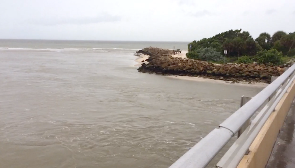 Water Ripping Out Of Bay Through Blind Pass, Hurricane Irma, Sanibel & Captiva, 9 AM/E Update, September 10, 2017.
